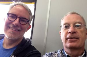 Cameron and I on the train from Vancouver airport to downtown. Inexpensive and a nice way to get into town in reasonable time.