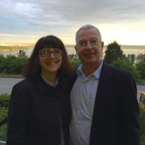 SLA Past President and me checking out the scenery during a fun dinner across the bay from Vancouver