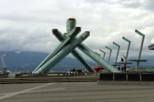 The Olympic Torch on the shore of Vancouver Bay. A fascinating sculptural site during the day.