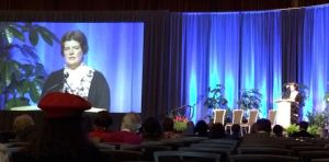 President Kate Arnold addresses the SLA Annual Business Meeting at the close of the conference